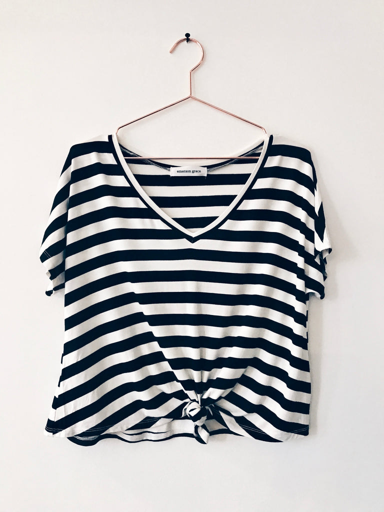 Emerson Grace - Short Sleeve Boxy V-neck Tee, Stripe - Therapy & EG Page