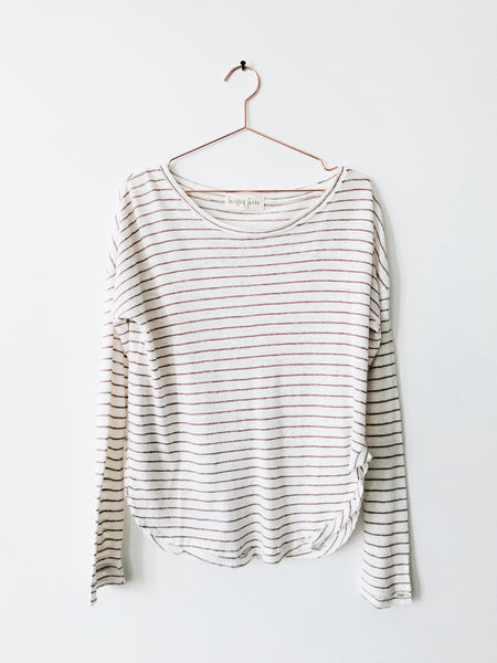 Laissez Faire - Desta Long Sleeve Stripe Tee with Distressing, White/Mauve - Therapy & EG Page