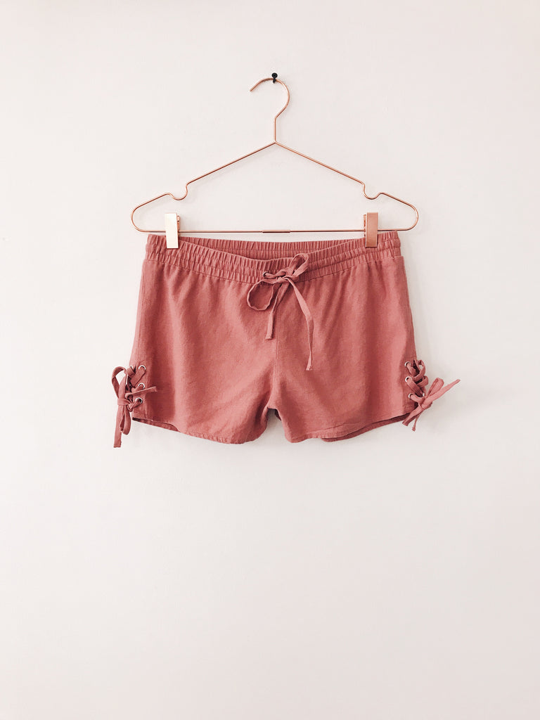 Emerson Grace - Linen Shorts with Lace Up Sides, Mauve - Therapy & EG Page