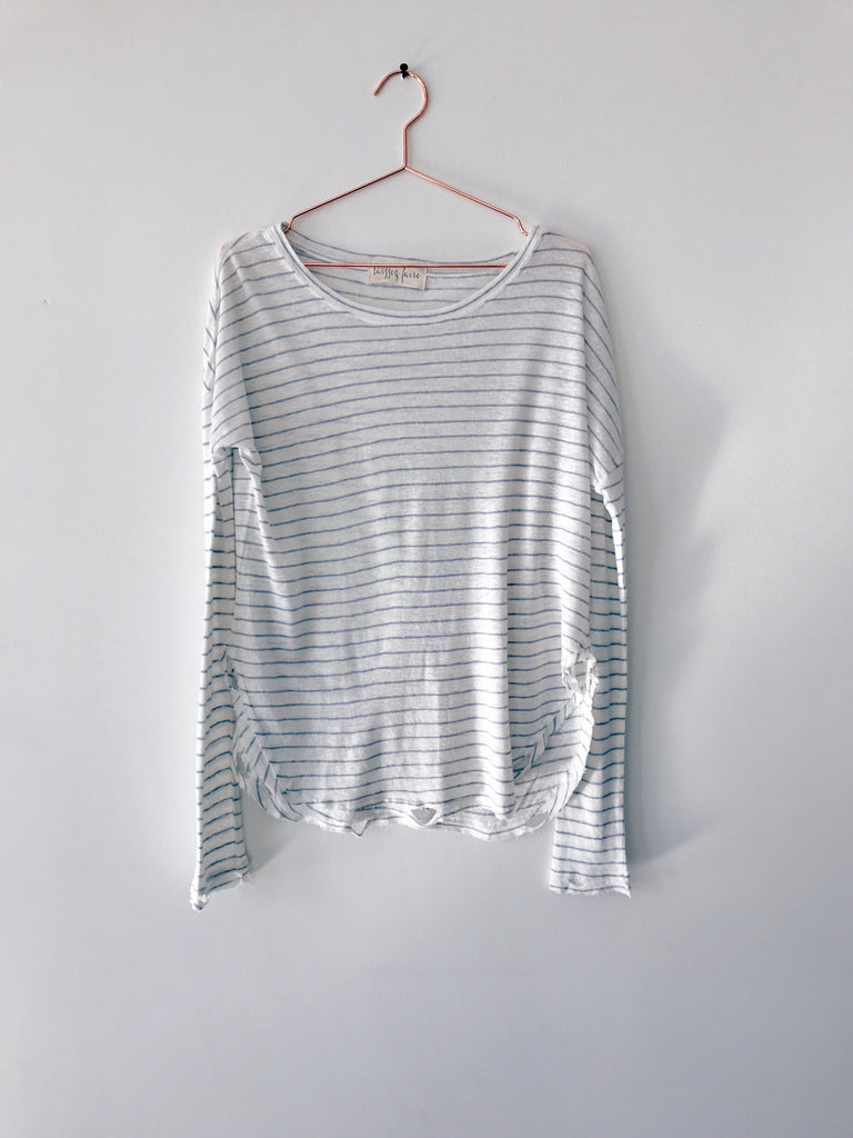 Laissez Faire - Desta Long Sleeve Stripe Tee with Distressing, White/Blue - Therapy & EG Page