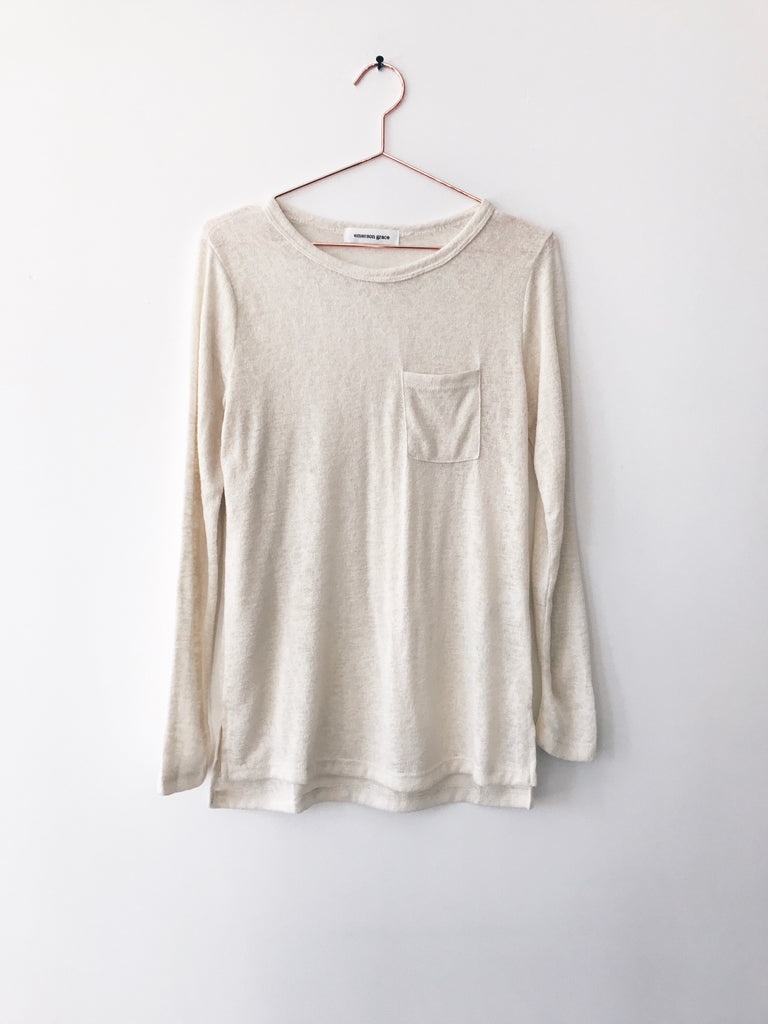 Emerson Grace - Long Sleeve Scoop Tee with Pocket, Clay - Therapy & EG Page