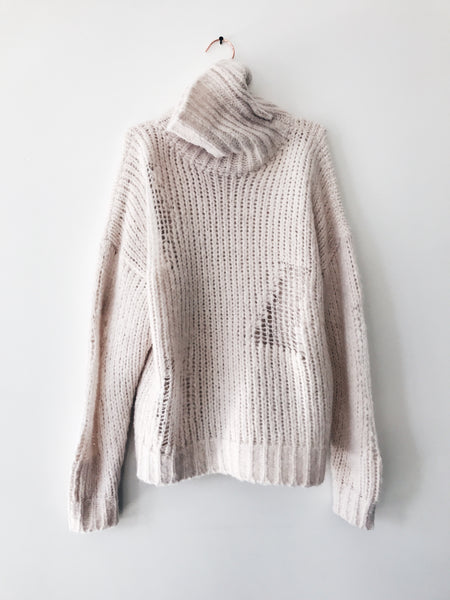 IRO - Dalos Chunky Distressed Turtle Neck, Ivory - Therapy & EG Page