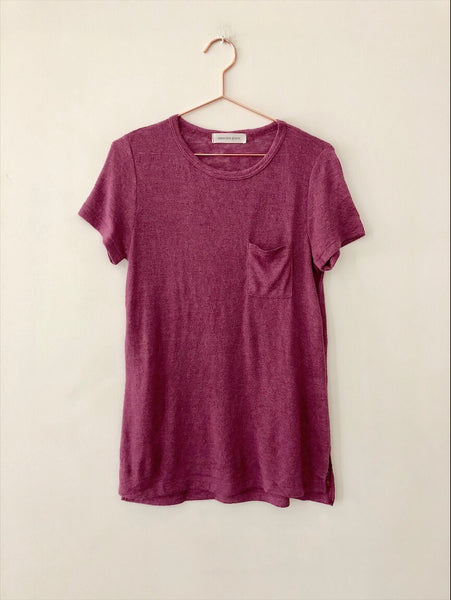 Emerson Grace - Short Sleeve Jersey Mesh with Pocket , Grape - Therapy & EG Page