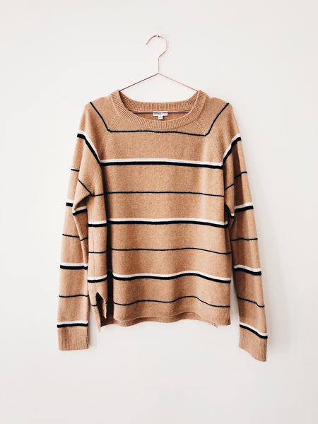 Minnie Rose - Striped Hi-Low Raglan , Camel - Therapy & EG Page