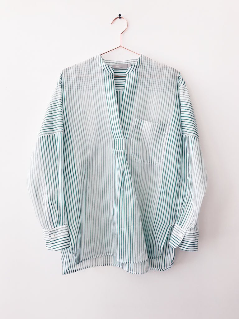 Vince - Pencil Stripe Pullover Tunic, Malachite/White - Therapy & EG Page