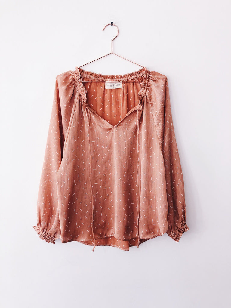 Laissez Faire - Helene Tie Peasant Blouse, Apricot - Therapy & EG Page