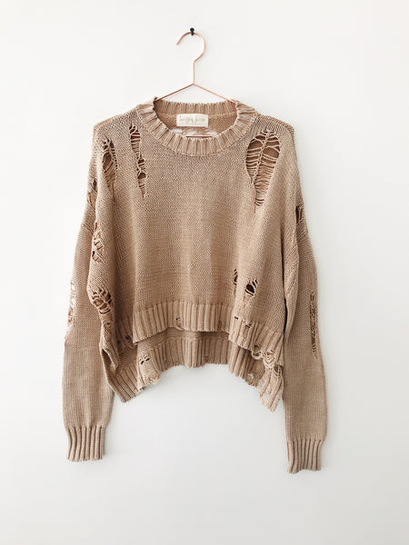 Laissez Faire - Aya Distressed Crop Sweater, Taupe - Therapy & EG Page