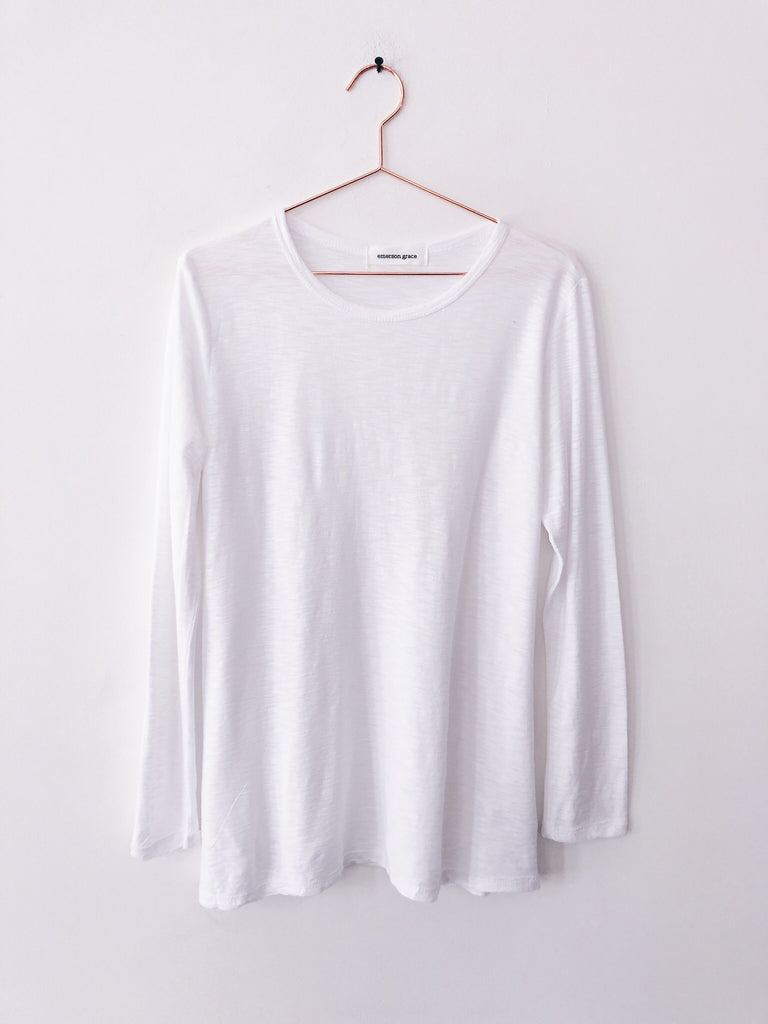 Emerson Grace - Long Sleeve Slub Jersey, White - Therapy & EG Page