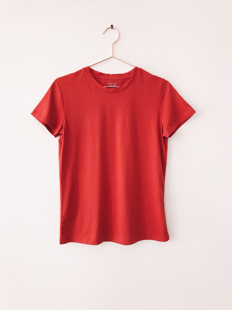 Vince - Essential Short Sleeve Crew Tee, Paprika - Therapy & EG Page