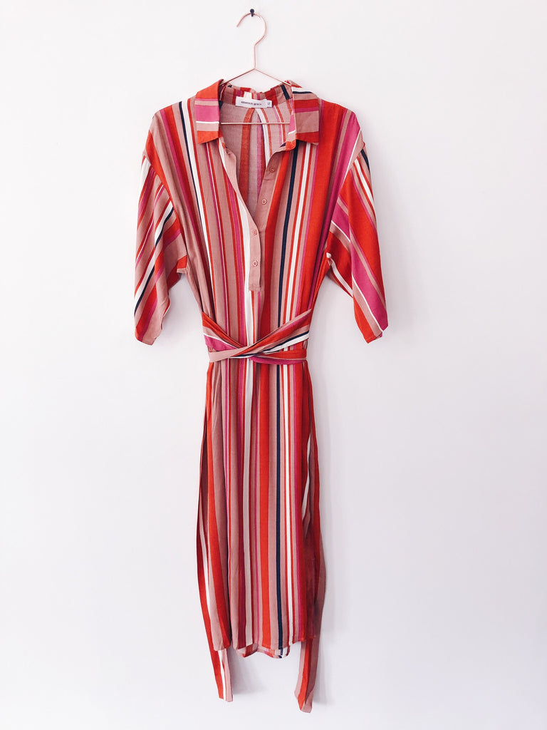 Emerson Grace - 3/4 Sleeve Striped Midi Dress w/ Tie, Blood Orange - Therapy & EG Page