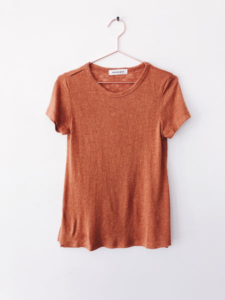 Emerson Grace - Short Sleeve Jersey Mesh Tee, Pumpkin Spice Latte - Therapy & EG Page