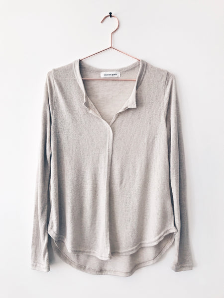 Emerson Grace - Long Sleeve Open Neck Tee, Light Taupe - Therapy & EG Page