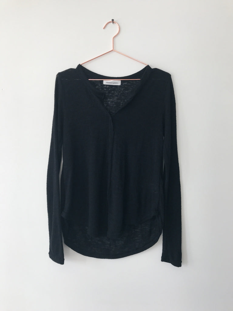 Emerson Grace - Long Sleeve Open Neck Tee, Black - Therapy & EG Page