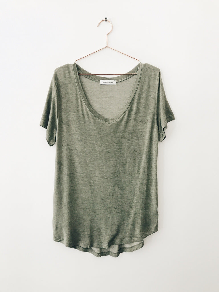 Emerson Grace - Drape Vneck Tee, Olive - Therapy & EG Page