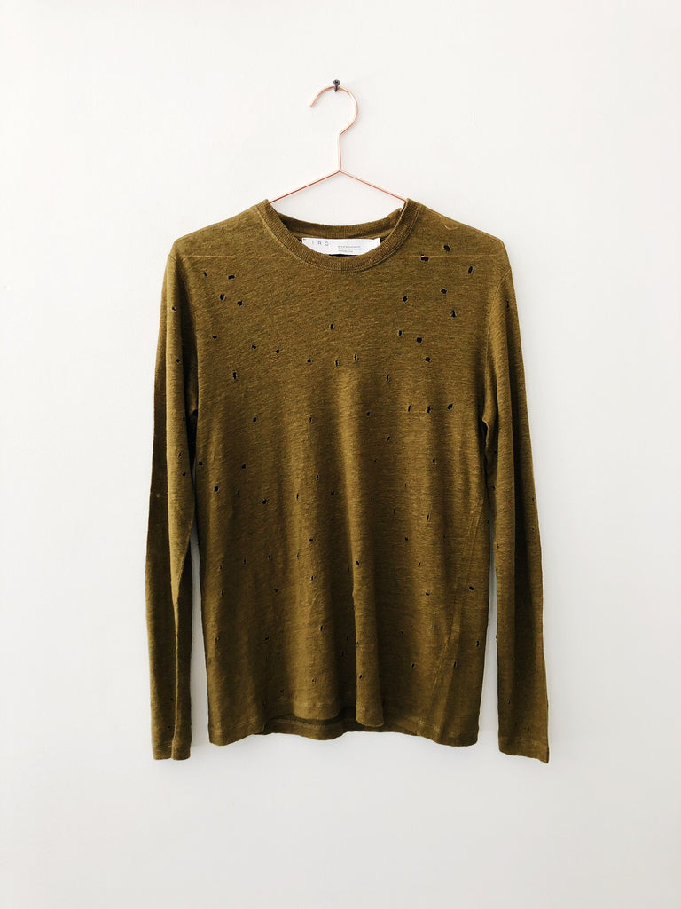 IRO - Marvina Long Sleeve Tee w/ Holes, Khaki - Therapy & EG Page