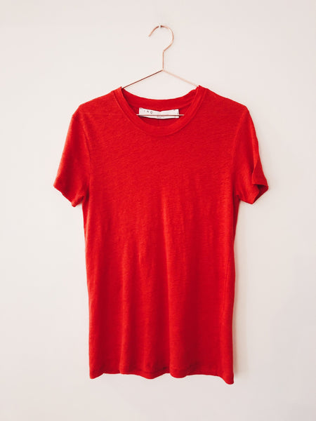 IRO - Luciana Linen Short Sleeve Crewneck , Hot Coral - Therapy & EG Page