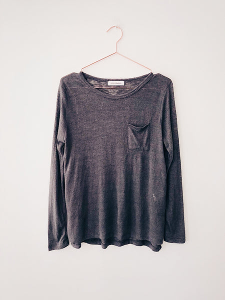 Emerson Grace - Long Sleeve Jersey Mesh with Pocket , Charcoal - Therapy & EG Page
