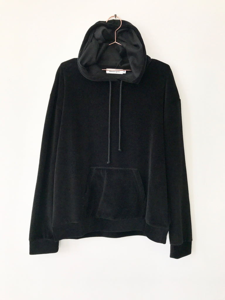 Emerson Grace - Velour Hoodie, Black - Therapy & EG Page