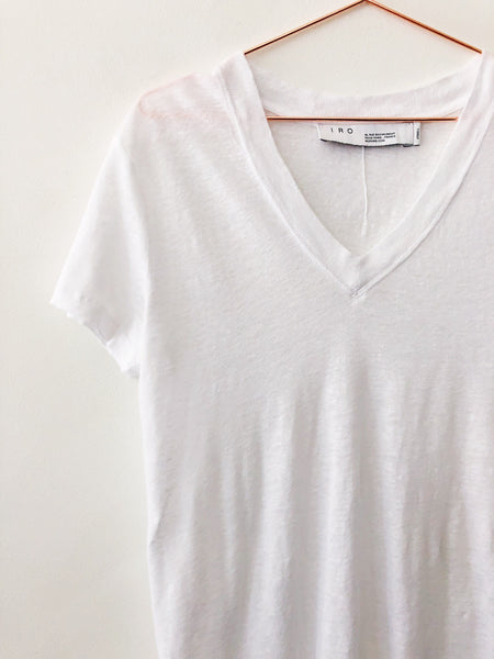 IRO - Libby Short Sleeve Linen Tee, Near White - Therapy & EG Page