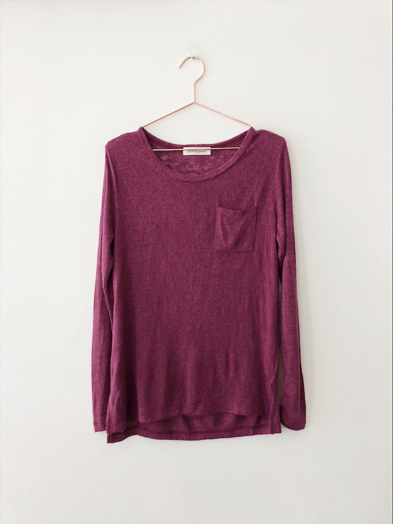 Emerson Grace - Long Sleeve Jersey Mesh with Pocket , Grape - Therapy & EG Page