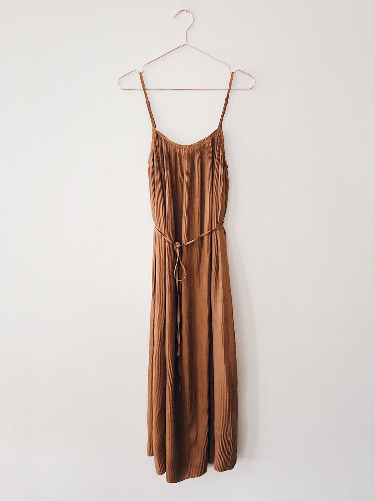Laissez Faire - Alice Pleated Maxi Dress w/Tie, Camel - Therapy & EG Page