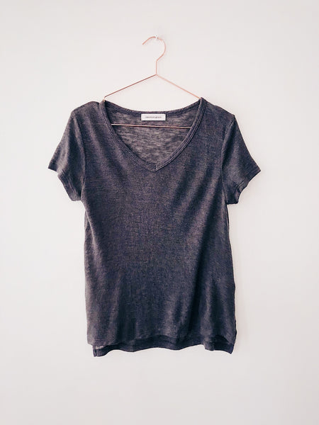 Emerson Grace - Short Sleeve Mesh V-Neck , Charcoal - Therapy & EG Page