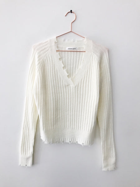 Emerson Grace - Distressed Vneck Crop Sweater, Ivory - Therapy & EG Page