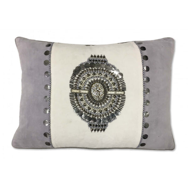 White velvet/Hand Embroidered Pillow