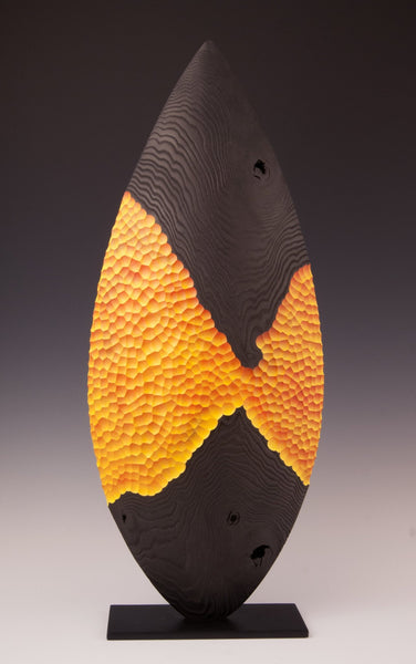 Wood Sculpture: Black & Orange Almond