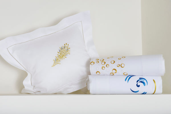 Hand Embroidered Bed Linen: Champagne
