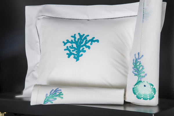 Hand Embroidered Bed Linen: Corail