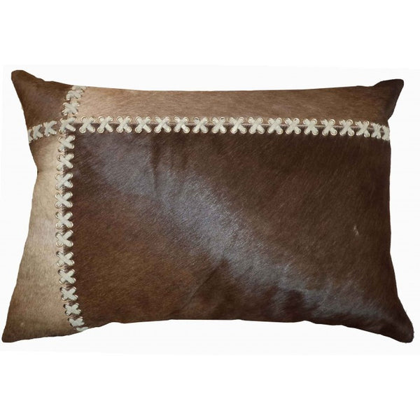Cross-Stiched Leather Pillow