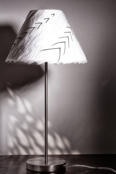 Black & White Feather Lamp Shade