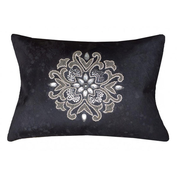 Acid Wash Black Hide Pillow