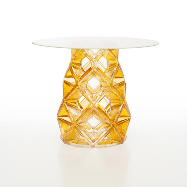 Round Hand Blown Crystal Table