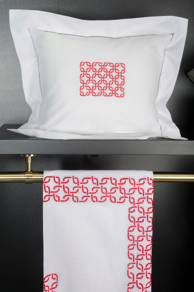 Hand Embroidered Bed Linen: Perfection [Red]