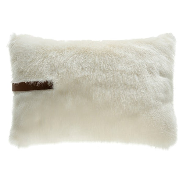 White Fur Pillow with Leather