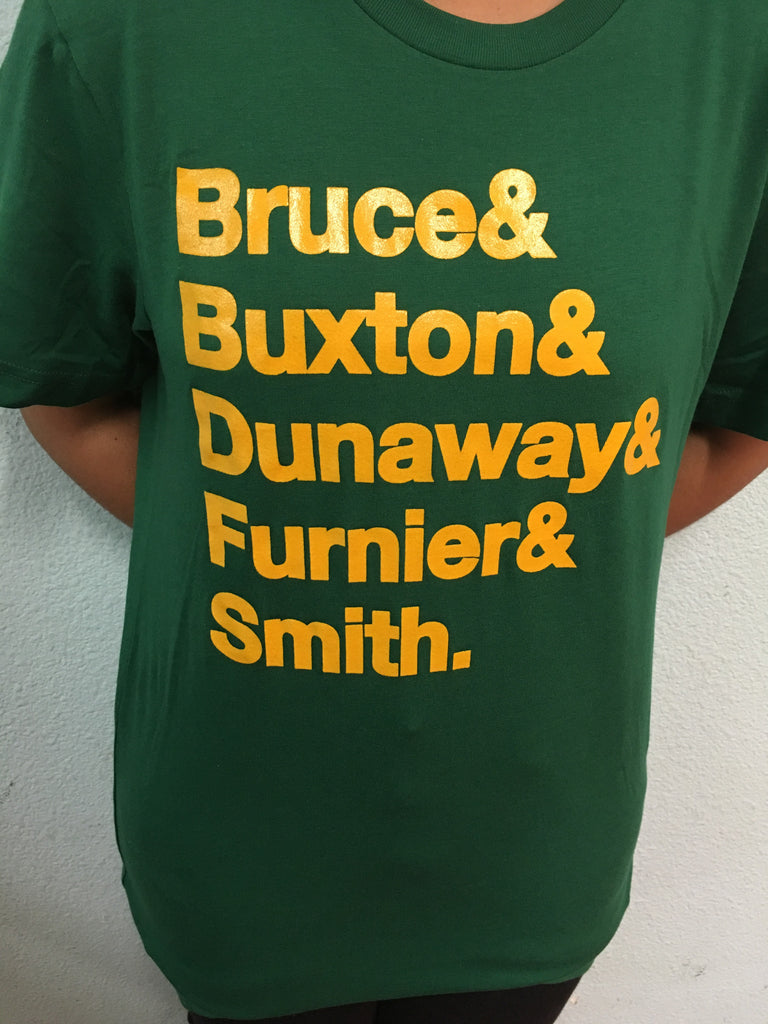 ACG Helvetica Last Name Tee 6 BDB (Evergreen w/ Gold Letters)