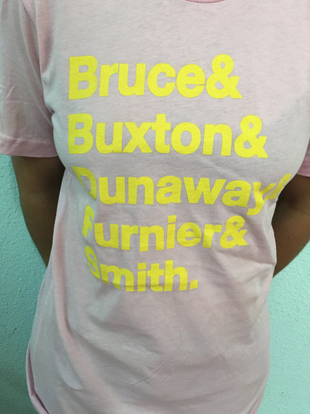 ACG Helvetica Last Name Tee 1 PFY (Soft Pink w/ Yellow Letters)