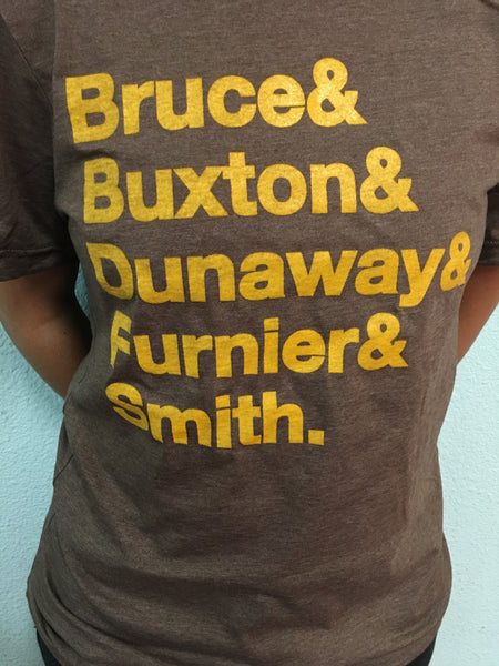 ACG Helvetica Last Name Tee 5 SO (Heather Brown w/ Yellow Maize Letters)