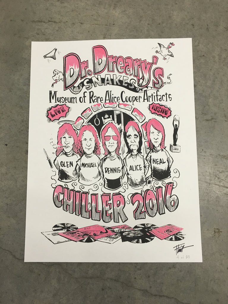 "Dr. Dreary Chiller 2016 18""x24"" Silkscreened Poster (White Edition)"