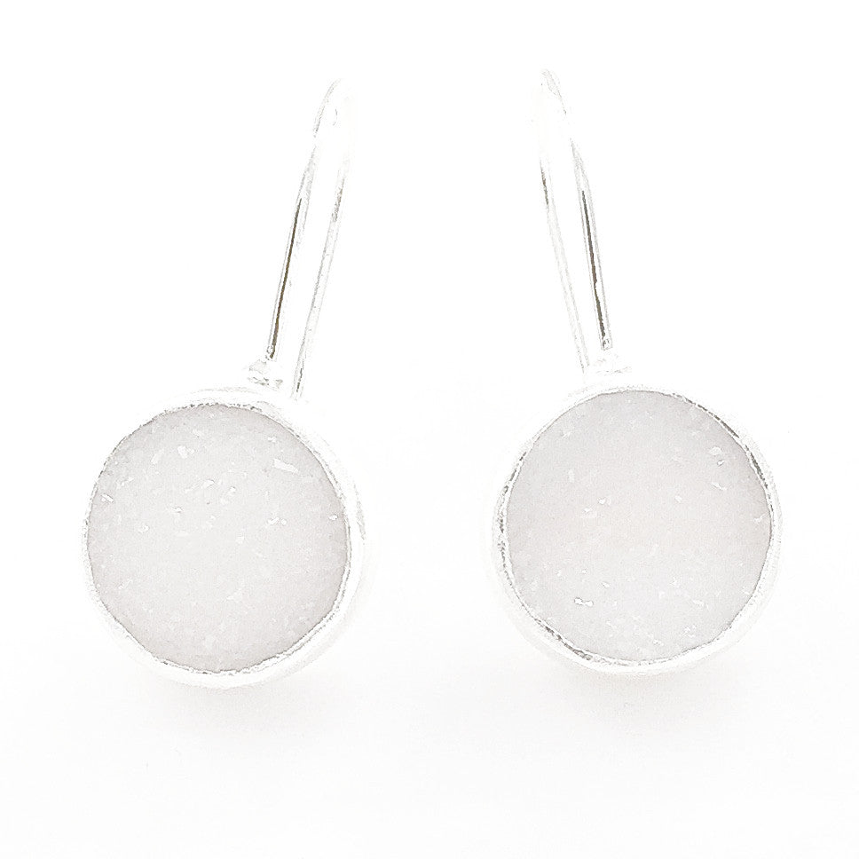Sterling Silver And White Druzy Circle Drop Earrings