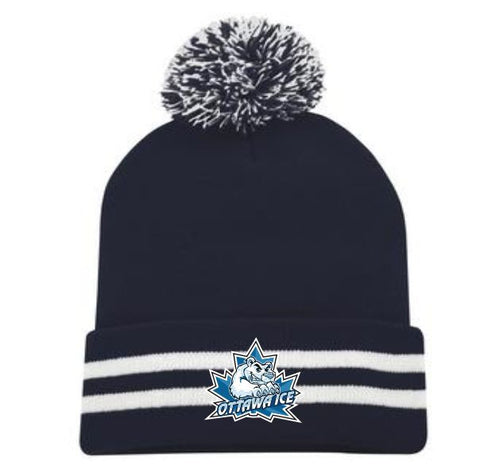 ICE Embroidered Pom Pom Toque