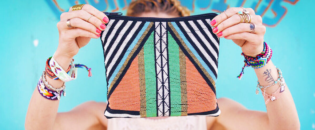 hiptipico beaded clutch, beaded tribal geometric festival clutch, anthropologie beaded clutch, Hiptipico Beaded Clutch Bag, Bohemian Geometric Beaded Clutch Bag, Boho Beaded Travel Pouch, Anthropologie Beaded Clutch Bag, Ethical Fashion Brand