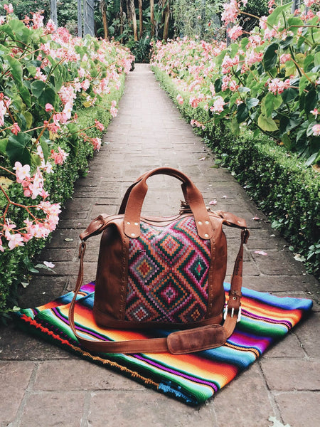 hiptipico bag, hiptipico weekender, leather, mexican woven blanket, guatemala blanket, textiles, colorful blanket, instameet, lake atitlan