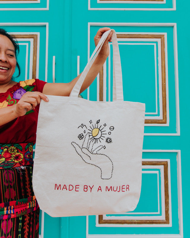 Girl Power Tote Bag, Hiptipico Tote Bags, Handmade Tote Bag, Embroidered Tote Bag, Ethically Sourced Tote Bag, Sustainable Tote Bag, 100% Cotton Tote Bag, Zero Waste Tote Bag, Empowering Tote Bag,  Slow Fashion Tote Bag, Made by Female Artisan, Feminist Tote Bag, The Future is Female, Shop Local, Sustainable Fashion, Girl Power, Empowered by Females, Hiptipico Shopping, Artisan Goods, Supporting Women, Artisan Women, Social Sustainability, Market Goods,