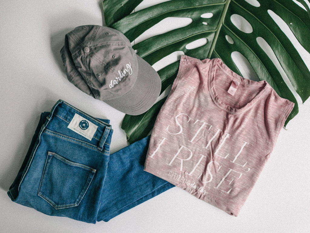 Mud jeans and cap with 'Darling' embroidered on green frond on white surface, Mud Jeans, ethical jean line from MUD, fashion brands with ethical lines, best ethical fashion brands, ethical fashion bloggers