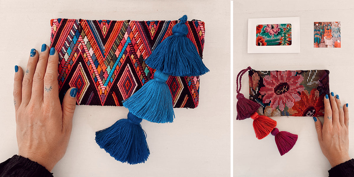 Zero Waste Sustainable Travel Pouches with Upcycled Huipil Fabric