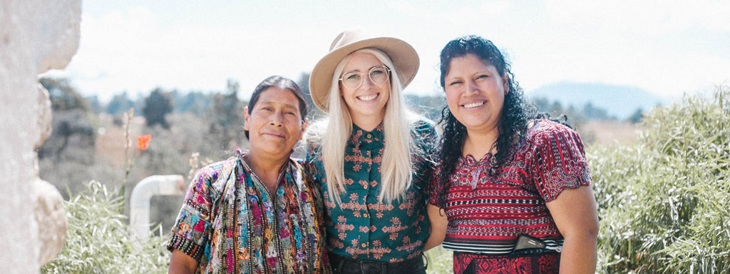 Hiptipico Founder Alyssa poses with Artisan Partner Olga, ethical fashion brands, authentically handmade goods from Guatemala, ethically crafted textiles, Artisan crafted textiles shipped to the US