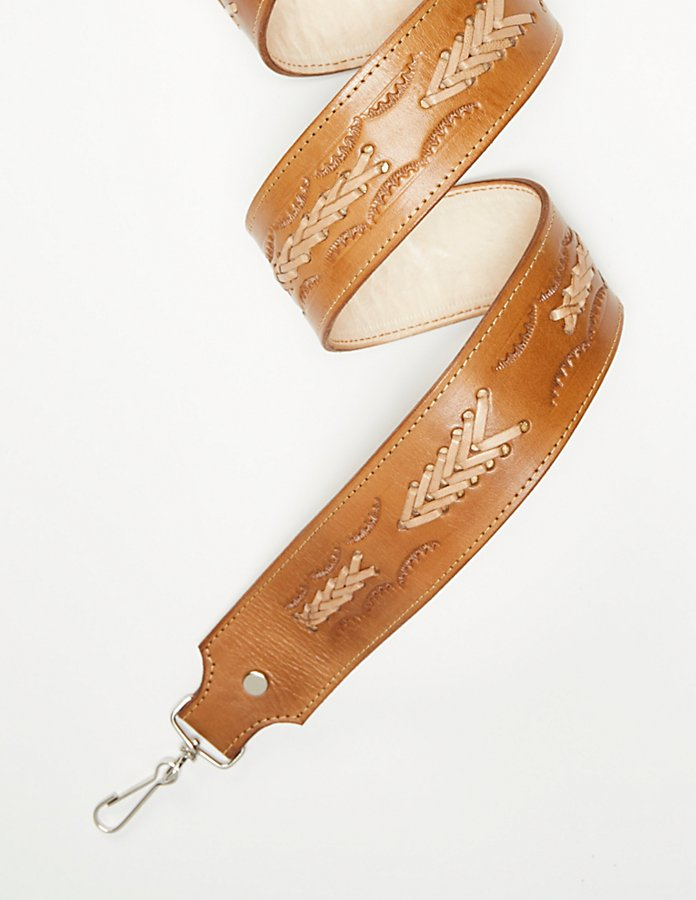 Lexi Tooled Leather Strap - 001 Natural